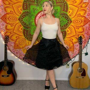 Black polka dot A-line skirt
